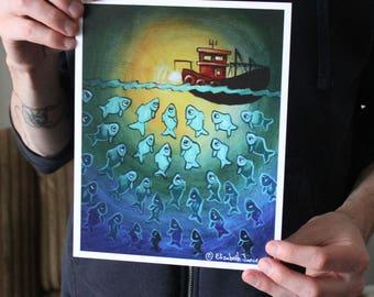 Fishing Boat at Night; Fine Art Print