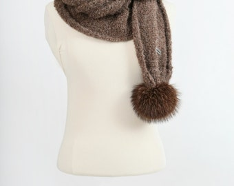 Baby Alpaca Hooded scarf with recycled fur pompons