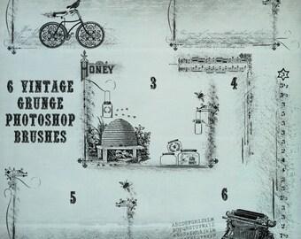 6 Photoshop Vintage Grunge Brush Frames- Commercial Use - Bee Hive, Music, Script, Ornament, Bike, Bird, Honey Jar - Graphic Design Tools