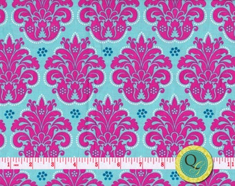 Designer Fabric By the Yard Pink and Aqua Damask Fabric Medallion Fabric Modern Fabric Bold Fabric Cotton Quilting & Apparel Damask fabric