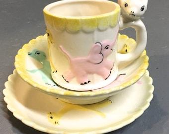 Vintage Child Ceramic Cup, Bowl, Plate - Vintage Handmade Handpainted Mug / Tea Cup / SET - Nursery Decor / Planter - Baby Shower Gift - 60s