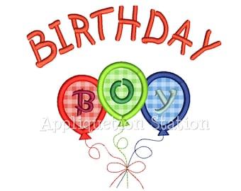 Birthday Boy Balloons Applique Machine Embroidery Design Happy Birthday INSTANT DOWNLOAD