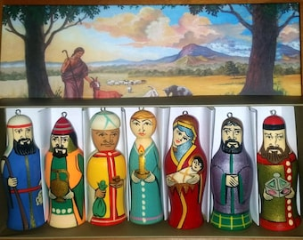 Set of Seven Hand Painted Wooden Christmas Ornaments. Nativity.