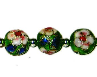 12mm Emerald Round Cloisonne Bead, 4 beads
