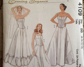McCall's Pattern M4109-Misses/Misses Petite Evening Elegance-Lined Tops and Petticoats-Size BB (8, 10, 12, 14)-New and uncut-WEDDING