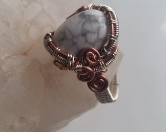 copper and silver plated copper Howlite ring,