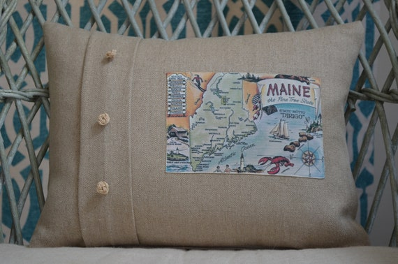 Maine Postcard Pillow (available in 3 styles and 2 sizes)