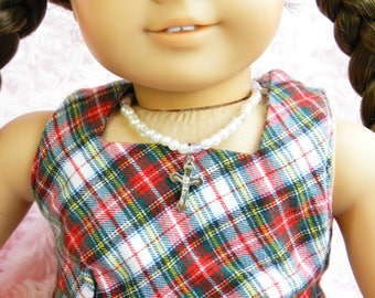 18 inch Doll Necklace American Girl Doll Accessory Crucifix First Communion Necklace Doll Jewelry Birthday Gift Catholic Doll Wedding Doll