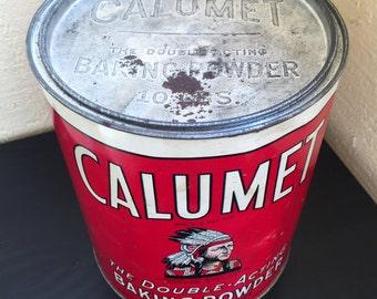 Vintage Calumet Baking Powder 10 pound tin Indian 1930s