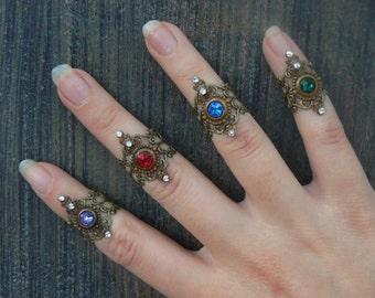 Swarovski midi rings SET OF 4 armor ring knuckle ring nail ring claw ring  tip ring  vampire goth victorian moon goddess pagan boho gypsy