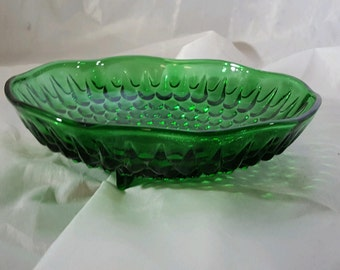 Vintage Green Glass Footed Bowl