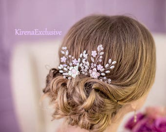 Wedding hair piece Rhinestone hair accessories Floral crystal hairpiece Flower hair pins Boho wedding hair pins Bridal hair pins rhinestone