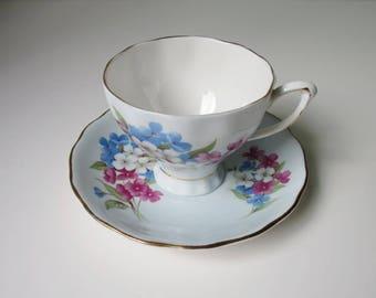 Vintage Tea Cup and Saucer Set in Pastel Blue, Classic Blue Floral Teacup and Saucer, Cup and Saucer Pastel Baby Blue
