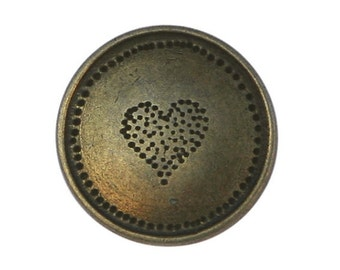 4 Dotted Heart 3/4 inch ( 20 mm ) Metal Buttons Brass Color