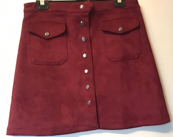 Vintage Burgundy Velvet Popper Mini Skirt