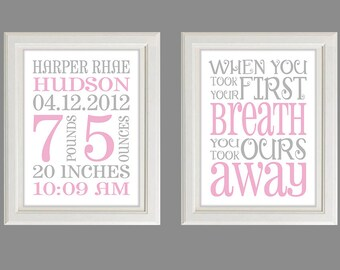 Nursery Art Print - Baby Birth Stats - You Took Our Breath Away - Set Of Two  Prints