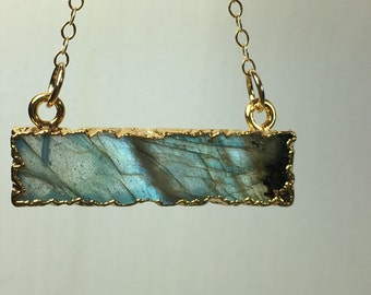 24k Gold Electroplated Labradorite Bar Pendant on 14k Gold Filled Chain