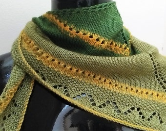 Unisex Hand Knit Bandana Scarf with Lace Panel and Pendant
