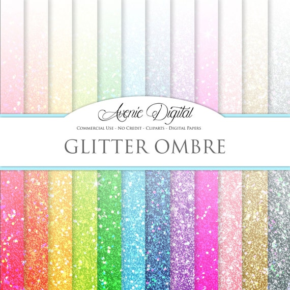Glitter Ombre Digital Paper. Scrapbooking Backgrounds