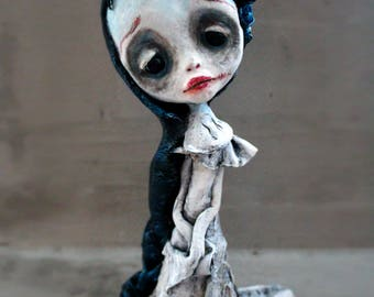 Ghostly girl-doll-ooak Art doll- OOAK- sculpture- Art-dark doll-spooky doll-ghost art doll-Halloween art-gothic doll-sad ghst doll-romantic