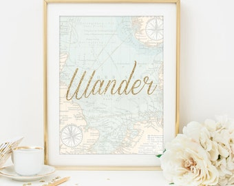 wander print world map print typography home decor printable wall art printable poster room decor travel decor travel art travel printable