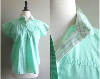 Vintage aqua button-up shirt / short sleeve collared blouse / camp shirt / peter pan collar