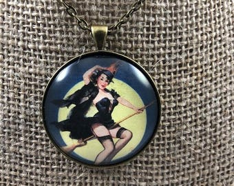 Vintage Witch Pin Up Girl Necklace