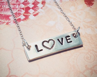 Handmade recycled fine silver hand stamped LOVE necklace with vintage style heart