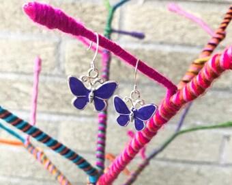 Purple Butterfly Earrings - Butterfly Jewelry - Purple Earrings - Little Girl Earrings - Girls Earrings - Stocking Stuffer