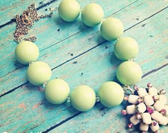Vintage boho wood rhinestone necklace