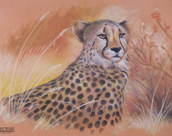 Large (A3) - WILDLIFE Artwork Realistic CHEETAH Chalk Pastel DRAWING peach yellow orange black Gift Nature Autumn grass Africa pattern cats