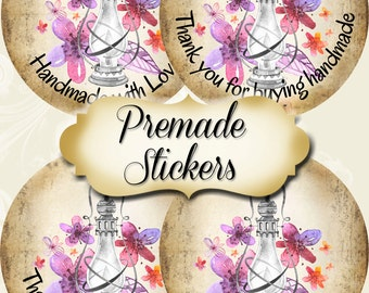 PREMADE•60 Custom 1.5 x 1.5 Round STICKERS•Labels•Tags•Package Labels•Custom Stickers•Custom Labels•MAGIC Lamp 2 Rustic
