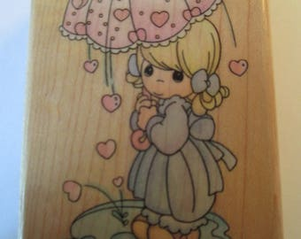 "Rubber Stamp ""Precious Moments shower of Love""  stamp For cards and scrapbooking  slightly used good condition"
