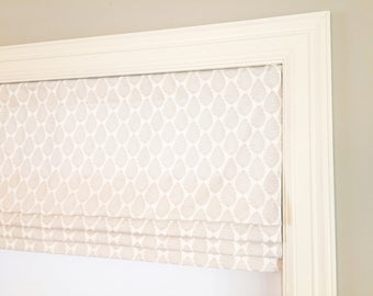 Faux (fake) flat roman shade valance. Your choice of fabric(up to 10 dollars/yd)! Custom Sizing. Premier Prints Jersey Twill French Gray.