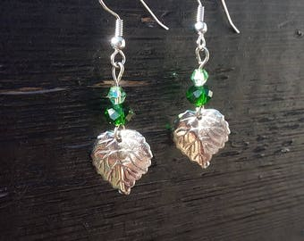 Handmade leaf earrings, surgical steel.