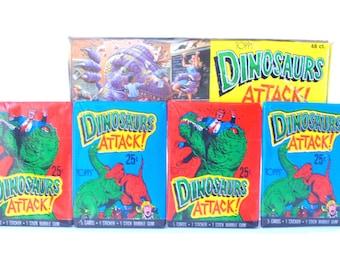 6 Dinosaurs Attack! Trading Card Packs Topps 1988