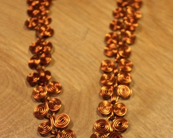 Copper Colored Spiral Necklace, item #163