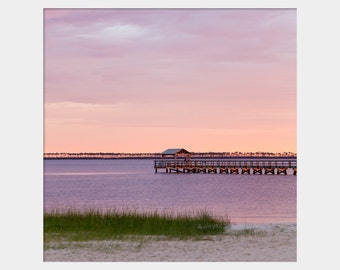 Peaceful Seascape, Pink Purple Photo, Coastal Art, Beach House Art, Front Beach Ocean Springs Photo, Mississippi Coast, Gulf Coast Photo