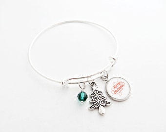 Merry Christmas Silver Adjustable Bracelet - with Silver Christmas Tree and Custom Bead