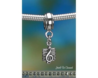 Tiny Sterling Silver Music Treble Clef Charm or European Bracelet .925