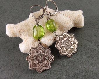 Peridot mandala earrings, handmade eco friendly fine silver earrings-OOAK