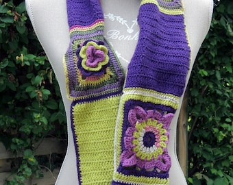 Scarf crochet, wool and acrylic.