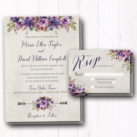Purple Rustic Wedding Invitations: Purple Wedding Invitation Rustic Wedding Invites Violet
