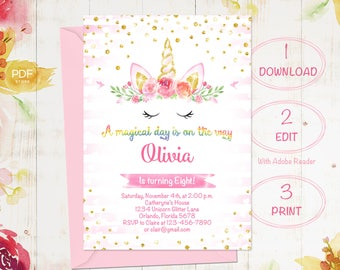 Unicorn Birthday Invitation, Magical Unicorn invitation, Floral Unicorn, Pink Gold Unicorn, 1st Birthday Girl Invitation, Instant Download
