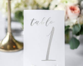 Watercolor Wedding Table Numbers LIGHT GRAY // table cards // watercolor // wedding // table numbers // paper table cards // watercolor card