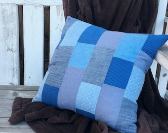 "Blue Patchwork Pillow - Quilted - Modern Home Decor - upcycled cotton - 17"" x 17"" - down pillow"