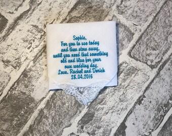 Flower girl keepsake handkerchief / Flower girl gift / old and blue / flower girl present / personalised gift / wedding handkerchief /