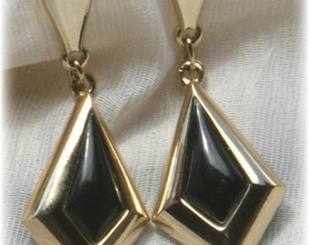Gold and Black Dangle Earrings