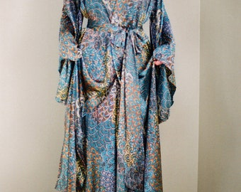 "Turquoise Imperial. One custom ""Noguchi"" kimono robe in the softest satin Long luxury curvy bohemian Womens wedding kimono with pockets."