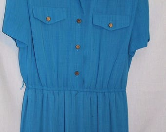 Vintage Retro Womens Dress Blue Short sleeve Belt Pleats  16 Petite Leslie Fay